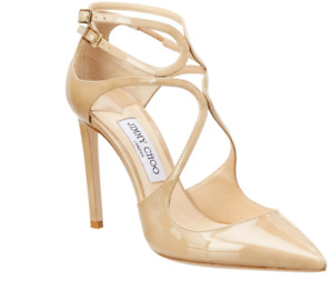 NEW JIMMY CHOO LANCER STRAPPY SANDAL PUMP NUDE PATENT LEATHER SIZE 36 EU / 6 US