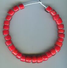 African Trade beads Vintage Venetian glass nice old large red white hearts #2