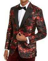 Tallia Mens Suit Jacket Black Size 38 Floral Metallic Single Button $350 #072
