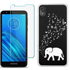 TPU Case for Motorola Moto E6 + Tempered Glass - Elephant Music