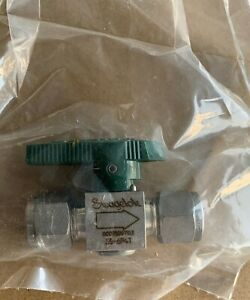 """Swagelok 3/8"""" SS Stainless Steel Instrument Green Plug Valve SS-6P4T New"""