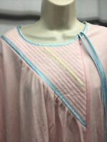 VINTAGE 70s VANDEMERE Robe XL Pink Blue  GEOMETRIC Flannel Nightgown