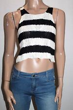Ally Brand Navy Cream Striped Chunky Cable Knit Top Size S BNWT #SW82
