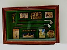 """VGUC Small Wall Hanging """"Born to Golf"""" Display Box Handsome and Charming"""
