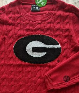 NEW Alma Mater Georgia Bulldogs Girls Youth M L Cable Knit Dress Red sweater