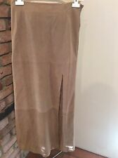 Escada Brown Lamb Nubuck    Long Straight Skirt Size 40 With Leg Opening