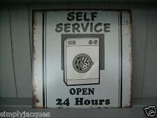 SHABBY CHIC VINTAGE Metallo targa sul muro Self Service LAVANDERIA segno