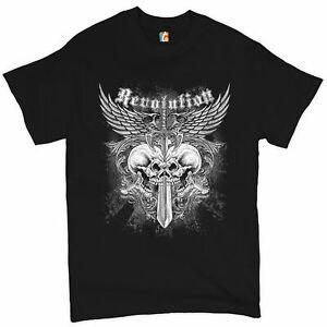 Revolution Gothic Skulls T-shirt Angel Wings Skeleton Horror Men's Tee
