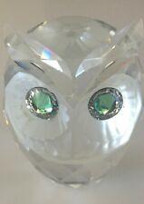 Vintage Swarovski Crystal 2 1/2 inch Owl Figurine with Green Eyes