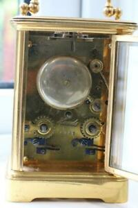 ANTIQUE FRENCH STRIKING CARRIAGE CLOCK sounding on bell GILT BRASS CASE service