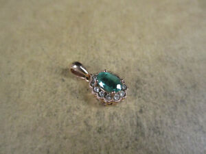 14K Rose Gold & Emerald/Diamonds Pendant, Signed FD, 1.6g