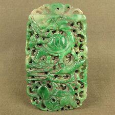 Antiguo Nefrita Piedra Jade 2 Sides Tallado Grande Pendant 2 Phoenix Dragón # Asian Antiques