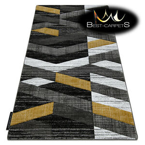 MODERN Amazing New design RUG ALTER Stripes gold grey Thick CHEAP Best-Carpets