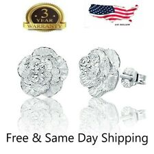 Women Fashion 925 Sterling Silver Crystal Ear Stud Earrings
