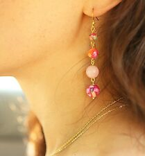 Hawaiian Wedding Tropical Mother Of Pearl Natural Gemstone Earrings Gold Plated