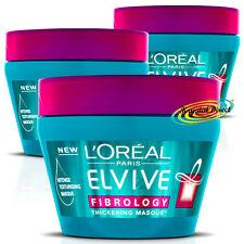3x L'oreal Loreal Elvive Fibrology Thickening Texturising Hair Masque Mask 300ml