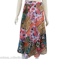 Womens Skirt - Floral Hand Patched Long Free Size Light Cotton Wrapper UC-003