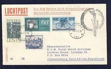 18739) Niederlande KLM FF Amsterdam - Johannesburg 22.11.62 ab Polen R!