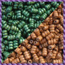100 Perles Legno Tubo 2 coloris Marrone chiaro / Verde
