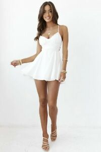 NWT Sold Out Hello Molly Thanks Girl Dress White S Romper Graduation Party Small