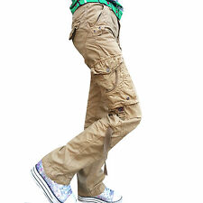 Damen Combat Freizeit Cargo Baumwolle Military Boyfriend Hose Pants Jeans
