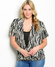 NEW..Lovely Stylish Plus Size Animal Print Top with Embellished V-Front.Sz16/1XL