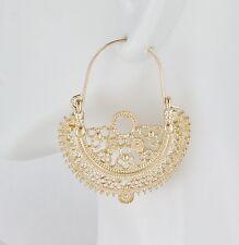 Gold earrings hoops filigree medallion earrings door knocker hoop huggie