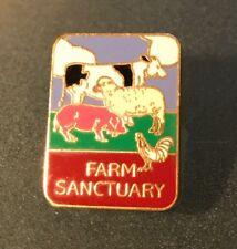 "FARM SANCTUARY Orland CA Enamel Pin 5/8"" x 7/8"" Cow Sheep Pig Hen VEGAN"