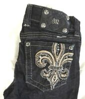 MISS ME Women's Black Embroidered Gem Stud Fleur De Lis Bootcut Jeans 26 x 32