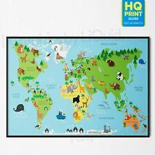 Kids Children Animal World Map Educational Nursery Wall Art POSTER *LAMINATED*