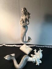 Lot 2 Mermaid Statue Sculpture Figurine Beach Coastal Home Decor Pottery Barn