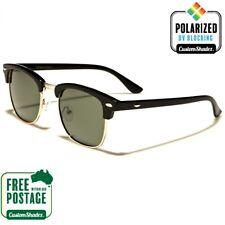 Polarised Retro Sunglasses - Black & Gold - Half Rimmed Frame - Polarized Lens