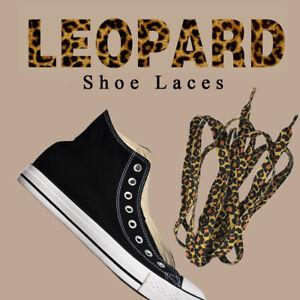 1 Pair Leopard Print Shoelaces Flat Laces Leopard Print Shoestrings  Useful