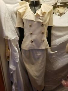 NWN Nipon Boutique Womens cream Linen short sleeve Suit & pencil skirt below kne