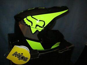 FOX Dirtbike Racing Helmet YL VI Revn Dot MIPS Green / Black NEW