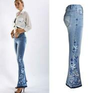 Women Flower Embroidered Denim Faded Wide Flared Jeans Stretch Bootcut Pants