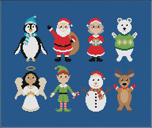 Christmas Characters Cross Stitch Kit by Meloca Designs