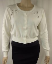 NEW City Chic Ivory Long Sleeve Crop Sweet Applique Cardi Size XS 14 BNWT # R77