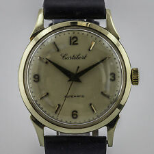 Cortebert, Vintage 8525, Mens, 14K Solid Gold, Cal 451, Leather Band