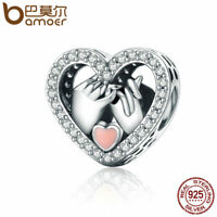 BAMOER S925 Sterling silver charm  LOVE Heart with AAA CZ For Women bracelets