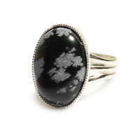 Snowflake Obsidian Gemstone Ring Oval Adjustable 18 x 13 mm Silver Plated