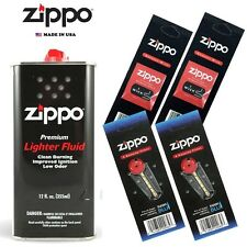 Zippo 12 oz Can Fuel Fluid and 4 Value Pack (12 Flints & 2 Wick) Combo Set