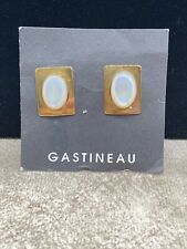 Ken Gastineau Brass Earrings w/ Mother of Pearl Cabochons-Original Card