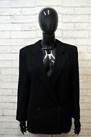 GIORGIO ARMANI Donna 48 Giacca Doppiopetto Nero Vintage Lana Blazer Jacket Black