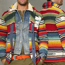 Mens Winter Warm Knitted Sweater Long Sleeve Rainbow Striped Cardigan Outwear