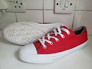 Converse All Star OX GEMMA Men Women Low Trainers RED WHITE TEXTILE UK 6 EU 40