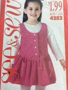 1989 Butterick See & Sew 4282 VTN Sewing Pattern Childs Jumper Top Size 2 4 6X