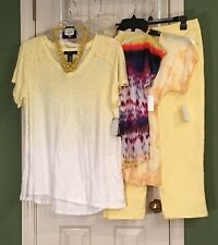 New 3 Medium Tops -Style&Co - Dots - ?? & Style&Co 6 Yellow Jeans -Free Jewelry