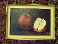 COOL MID 20th CENTURY CLASSIC RED APPLES STILL LIFE SCENE OIL ON BOARD PAINTING