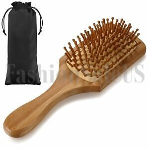 Bamboo Massage Straight Comb Healthy Anti-Static Leather Cushion Spa Hairbrush